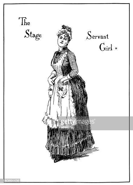 theatrical characters - the stage servant girl - maid stock illustrations, clip art, cartoons, & icons