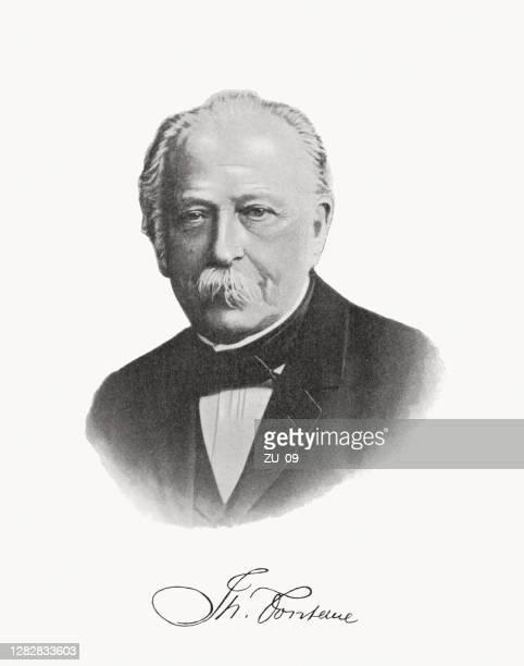 illustrations, cliparts, dessins animés et icônes de theodor fontane (1819-1898), écrivain allemand, photographie demi-tone imprimé, publié en 1899 - literature