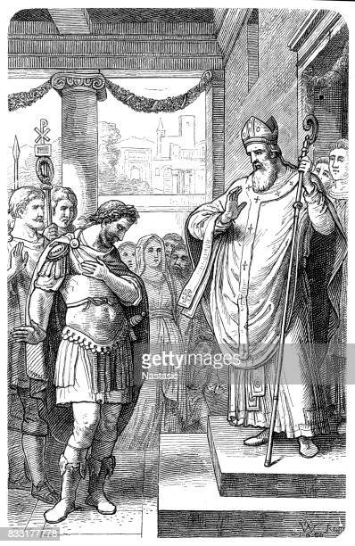 theodosius i, is humiliated by ambrose - bishop clergy stock illustrations, clip art, cartoons, & icons