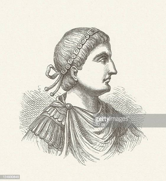 theodosius i (347-395), roman emperor, wood engraving, published in 1881 - emperor stock illustrations