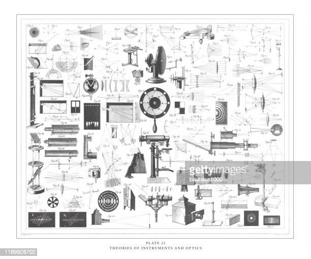 theories and instruments of optics engraving antique illustration, published 1851 - lens optical instrument stock illustrations