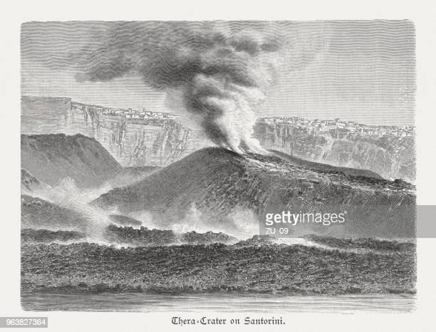 thera crater on santorini, greece, wood engraving, published in 1897 - greek islands stock illustrations, clip art, cartoons, & icons