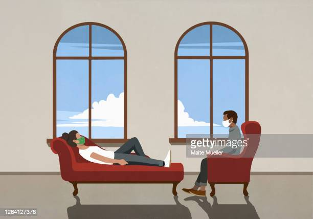 therapist and patient in face masks talking in office - {{ contactusnotification.cta }} stock illustrations