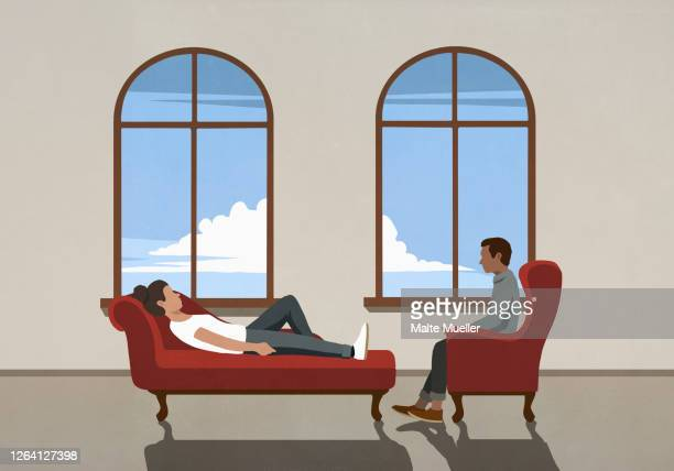 therapist talking to patient on chaise longue in office - mental health professional stock illustrations
