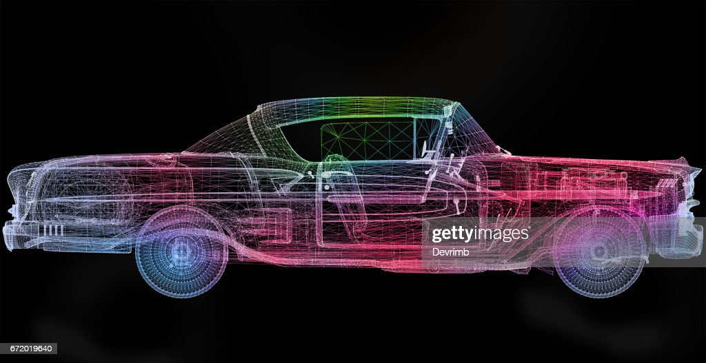 Thermodynamics Of The Old Style American Car Stock Illustration ...