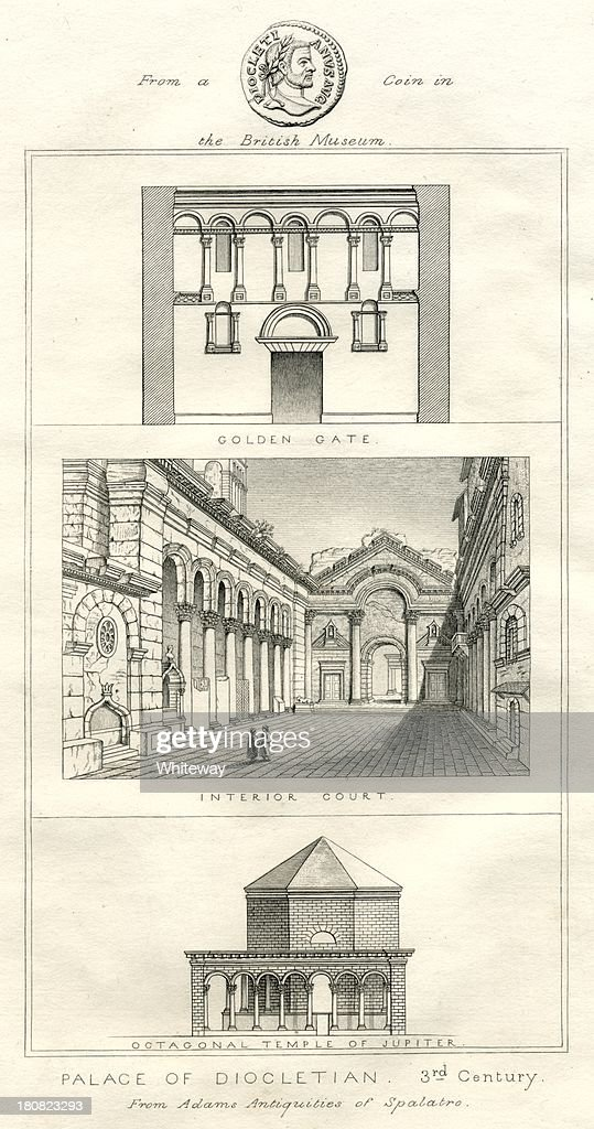 Palace of Diocletian Split Croatia 18th century illustration : stock illustration