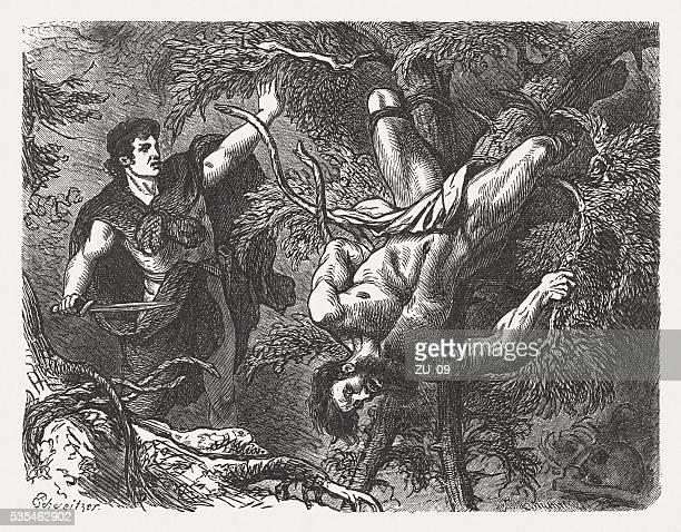 theseus punished sinis, greek mythology, wood engraving, published in 1880 - torture stock illustrations