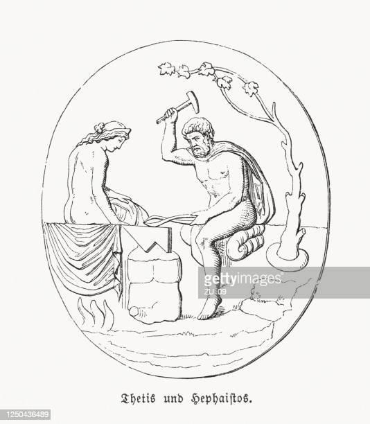 bildbanksillustrationer, clip art samt tecknat material och ikoner med thetis och hefaistos, trojan war, trägravyr, publicerad 1868 - grekisk gudinna