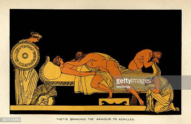 thetis bringing the armour to achilles - trojan war stock illustrations, clip art, cartoons, & icons