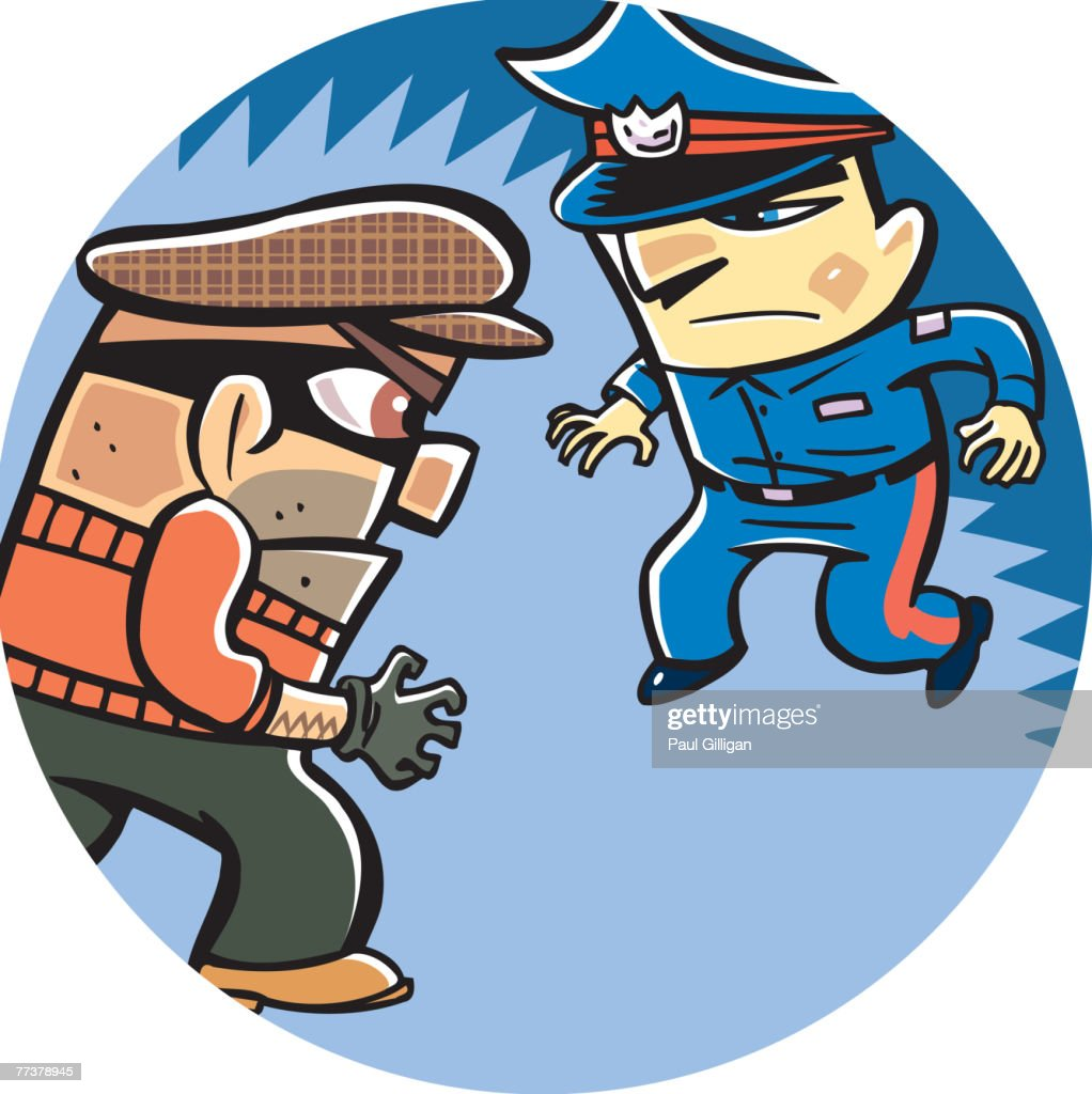 A thief and a policeman : Illustration