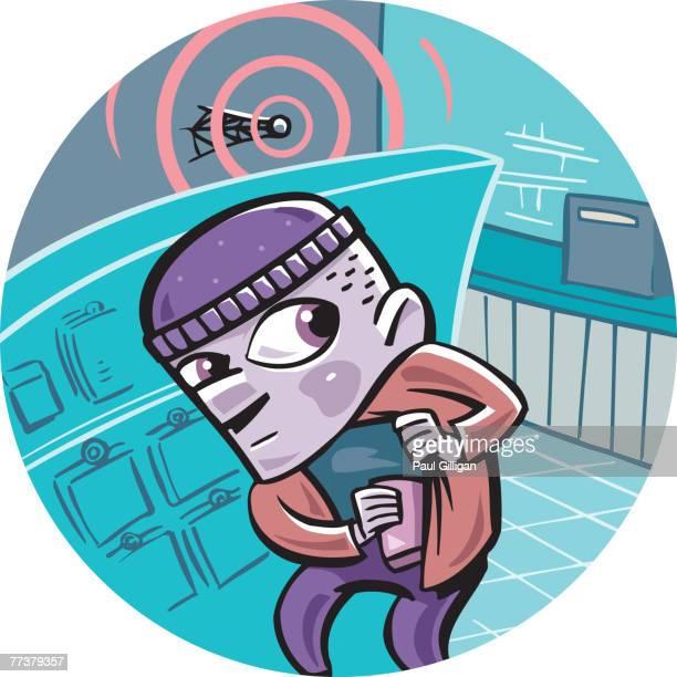 ilustraciones, imágenes clip art, dibujos animados e iconos de stock de a thief caught stealing from the surveillance equipment - stealth