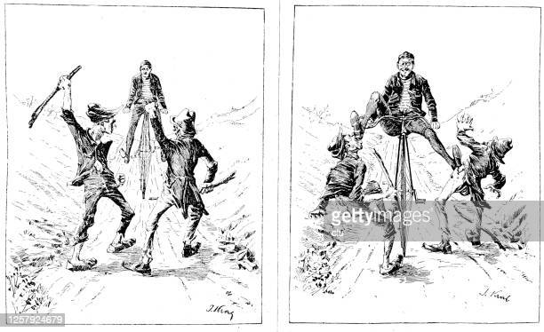 thieves on the road and the cyclist's answer - storyboard stock illustrations