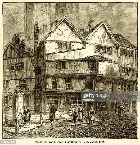 thieving lane, westminster, from a drawing by jt smith, 1808 - corner of building stock illustrations, clip art, cartoons, & icons