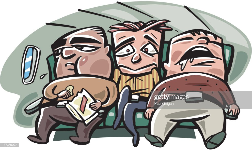 A thin man being squeezed by two fat men on a flight : Illustration