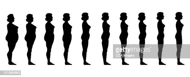 thin to fat women - slim stock illustrations, clip art, cartoons, & icons