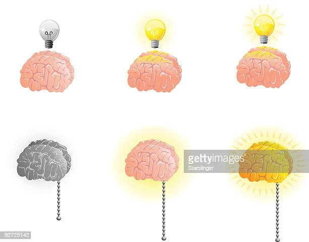thinking brain - start button stock illustrations, clip art, cartoons, & icons