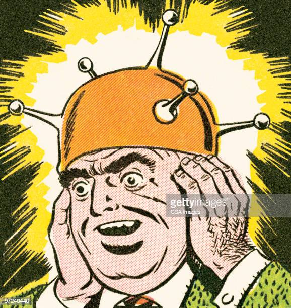 ilustraciones, imágenes clip art, dibujos animados e iconos de stock de thinking cap - hombre sensible