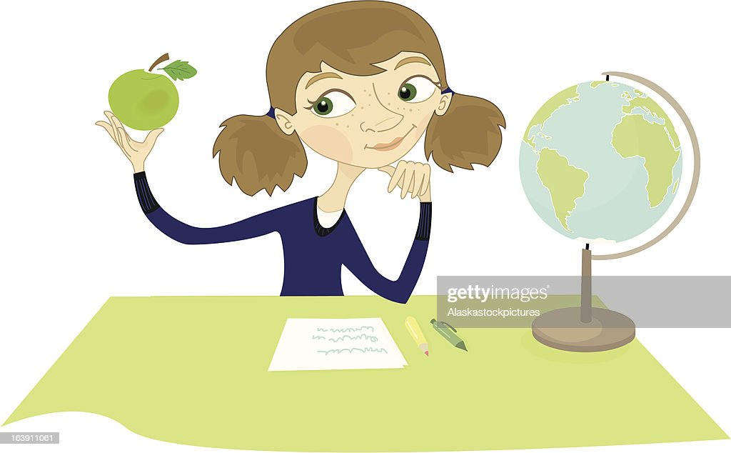 thinking girl with apple. : stock illustration