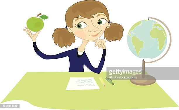 illustrazioni stock, clip art, cartoni animati e icone di tendenza di pensare ragazza con mela. - mappamondo