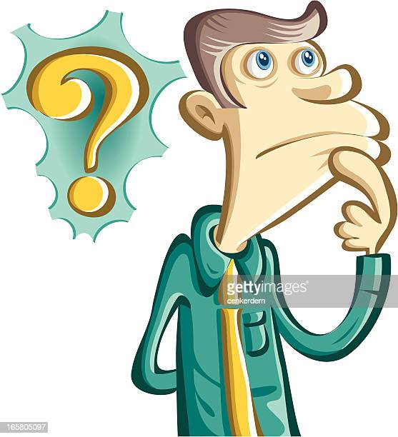 thinking man and question mark