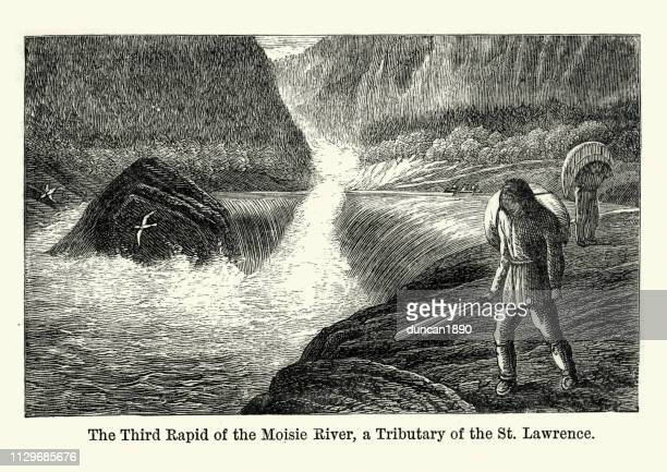 third rapid of the moisie river, canada, 19th century - traditionally canadian stock illustrations
