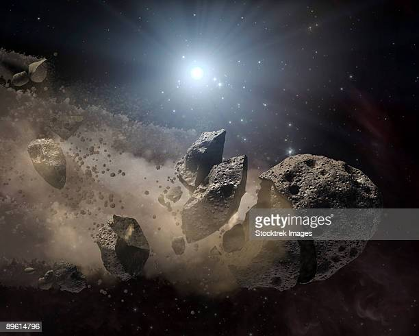 This artist's concept illustrates a dead star, or white dwarf, surrounded by the bits and pieces of a disintegrating asteroid.