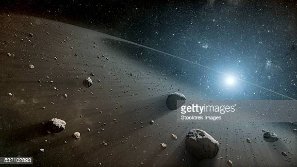 This artists concept illustrates an asteroid belt around the bright star Vega.