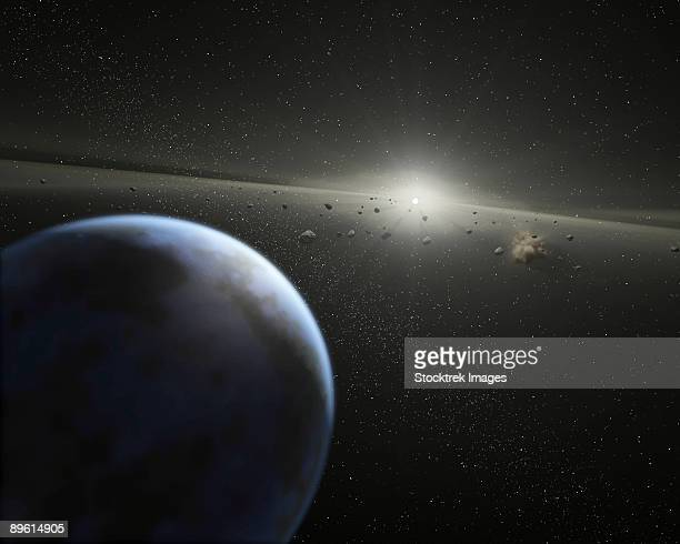 This artist's concept show a massive asteroid belt in orbit around a star the same age and size as our Sun.