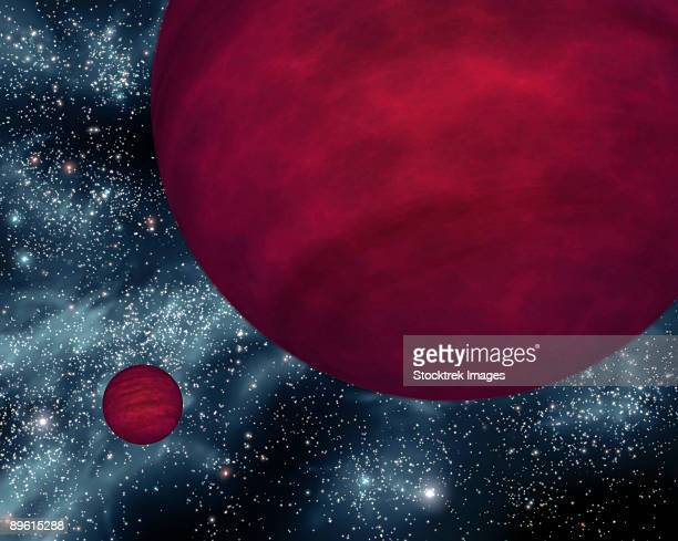 this artist's concept shows the dimmest star-like bodies currently known, twin brown dwarfs referred to as 2m 0939.  - brown stock illustrations