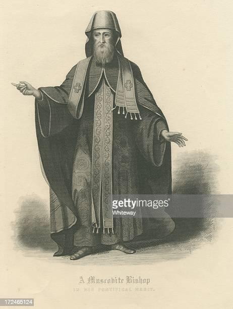 ilustrações, clipart, desenhos animados e ícones de moscovita bishop na sua pontifical hábito, do século xviii, rússia - bishop clergy