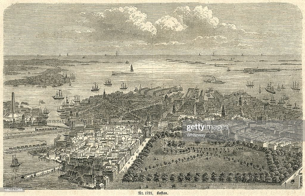 Boston Harbor looking out to sea 19th century engraving : Stockillustraties