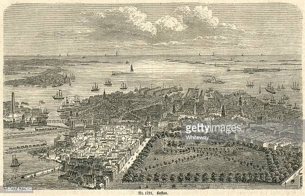 boston harbor looking out to sea 19th century engraving - bunker hill monument stock illustrations
