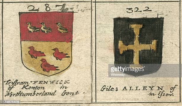 coat of arms 17th century fenwick and alleyn - northeastern england stock illustrations, clip art, cartoons, & icons