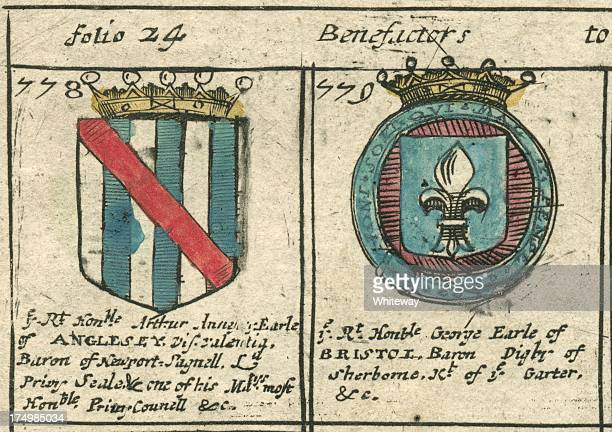 Annesley and Earle coat of arms copperplate 17th century