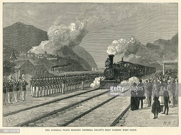funeral train bearing general grant's body passing west point - ulysses s grant stock illustrations