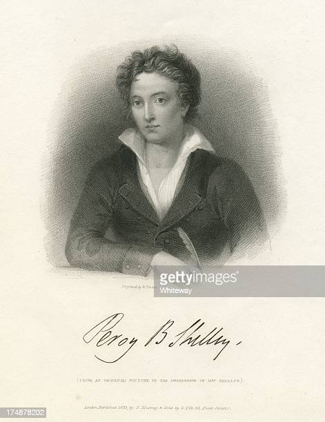 percy bysshe shelley engraving with autograph - poet stock illustrations
