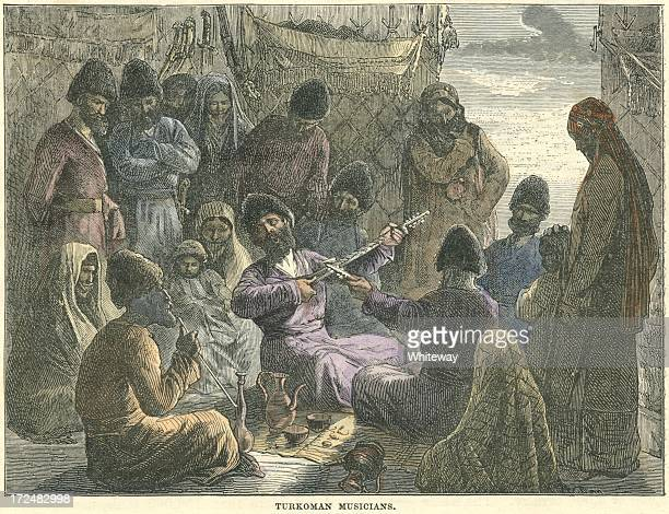 antique music and hookah in turkmenistan 19th century - bong stock illustrations