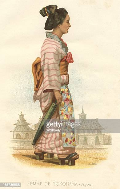 attractive woman femme de yokohama japan 19th century - only japanese stock illustrations, clip art, cartoons, & icons