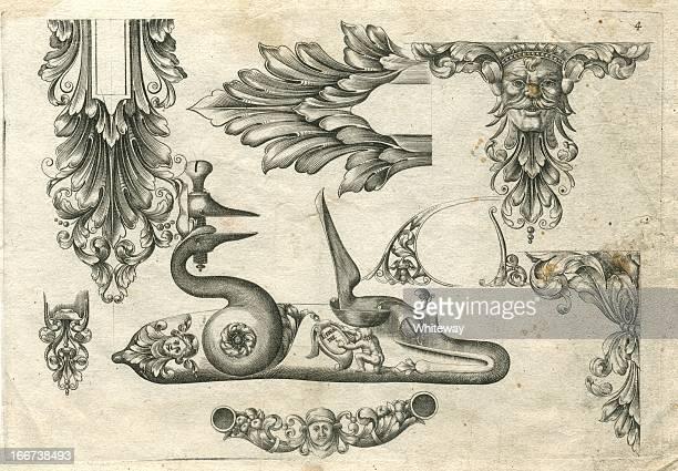 Diseños para pistola de ejemplar del siglo XVII arquebus conexiones