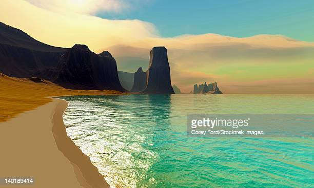 this ocean beach is colored in beautiful pastel colors on a hazy summer afternoon. - steep stock illustrations, clip art, cartoons, & icons