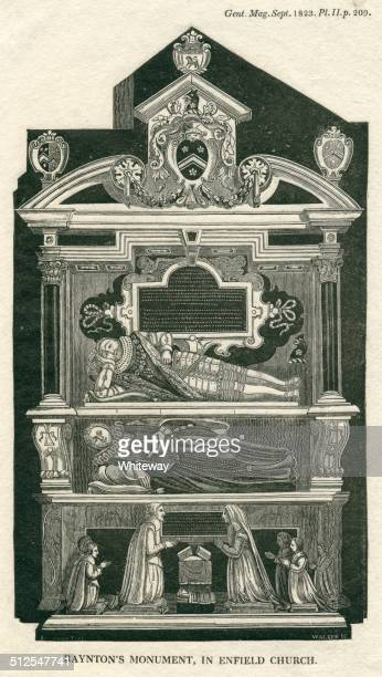 raynton's monument in enfield church london 17th century - enfield london stock illustrations