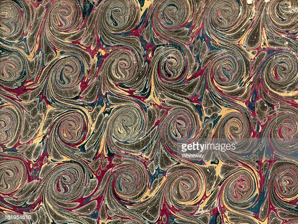 scrolled marbling pattern on antique book endpaper - scrollen stock illustrations