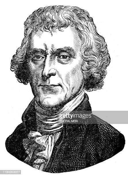 thomas jefferson 3rd u.s. president engraving 1894 - thomas jefferson stock illustrations, clip art, cartoons, & icons