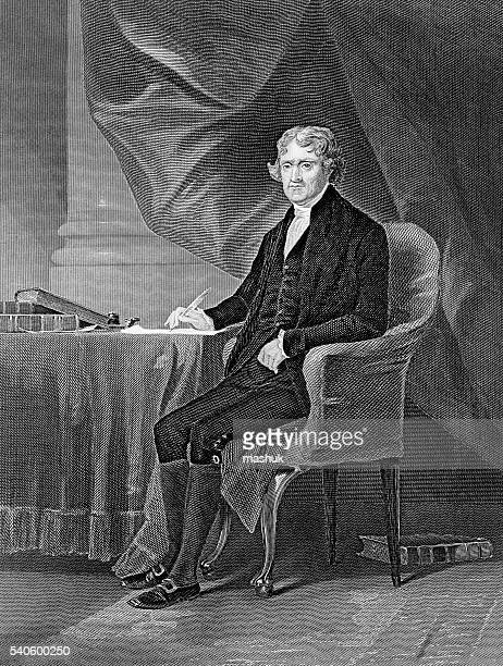 thomas jefferson 3rd us president - thomas jefferson stock illustrations, clip art, cartoons, & icons