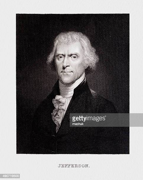 thomas jefferson, 3rd usa president - president stock illustrations, clip art, cartoons, & icons