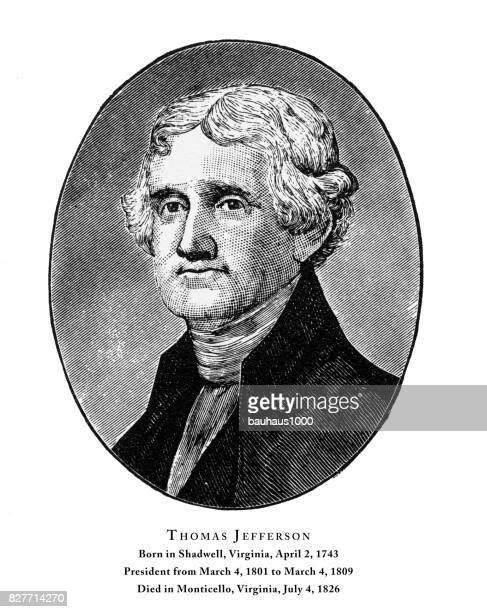 ilustrações, clipart, desenhos animados e ícones de thomas jefferson, gravado o retrato do presidente, 1888 - thomas jefferson