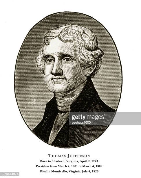 thomas jefferson, engraved portrait of president, 1888 - thomas jefferson stock illustrations, clip art, cartoons, & icons