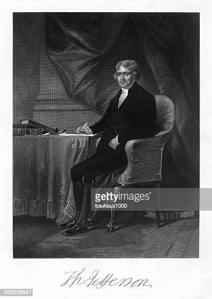 thomas jefferson engraving - declaration of independence stock illustrations