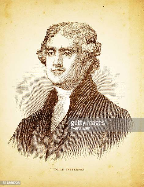 thomas jefferson engraving illustration - thomas jefferson stock illustrations, clip art, cartoons, & icons