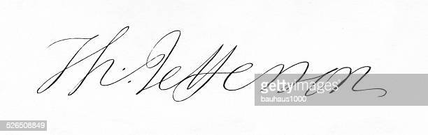 thomas jefferson signature - thomas jefferson stock illustrations, clip art, cartoons, & icons